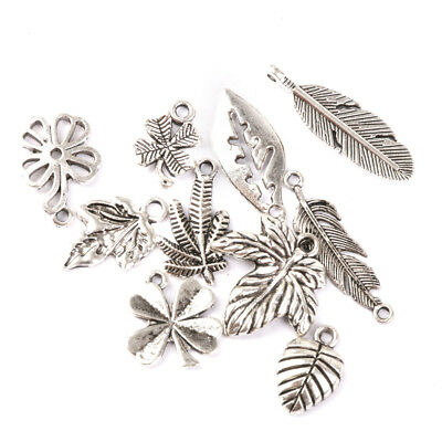 50 Assorted Leaves Tibetan Silver Alloy Charm Pendants DIY Jewelry Findings
