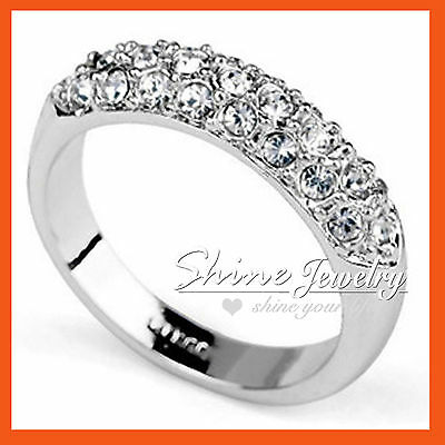 18K WHITE GOLD GF silver tone Simulated Diamond SOLID WEDDING ETERNITY BAND RING