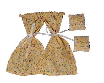 Beige Flowery Curtains & Two Cushions,1.12th Scale Doll House Accessory