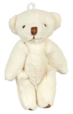 Big White Furry Bear, Dolls House Miniature 1,12 Scale Approx 60mm Tall