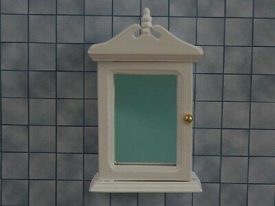 White Bathroom Cabinet With Mirror, Dolls House Miniatures, 1/12th Scale