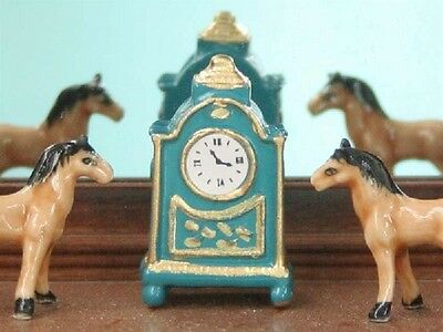 French Mantel Clock in Blue, Dolls House Miniature, Ornamental Accessories 1/12