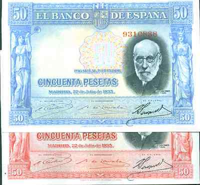 SPAIN LOT 2x 50 PESETAS 1935 BLUE AND RED VARIETY. VF CONDITION.