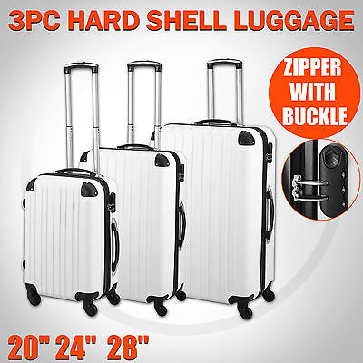 3 Piece Luggage Suitcase Set 4 Wheels Spinner White ABS Trolley Bag On Hand