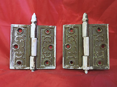 "Lot Of 2 Steeple Top Antique Victorian Ornate Door Hinges 3.5"" X 3.5"""