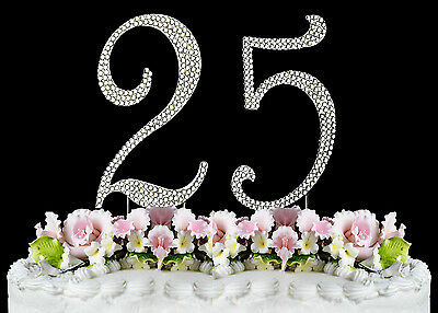 NEW Large Rhinestone NUMBER 25 Cake Topper 25th Birthday Party Anniversary