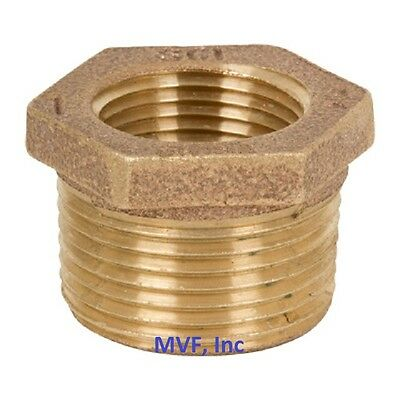 "1-1/4"" x 3/4"" Lead-Free Brass Hex Reducer Bushing 125# Threaded NPT  BR12070541"