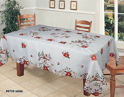 Holiday Embroidered Christmas Tree Poinsettia Tablecloth & Napkins White 6700W