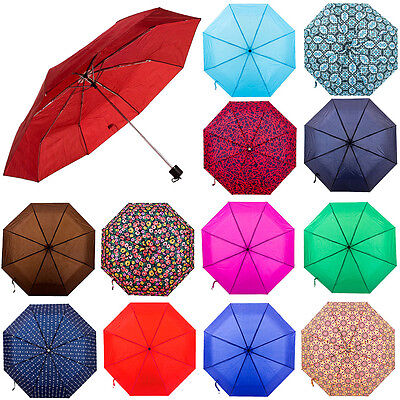 "Folding Rain 42"" Umbrella Solid Color or Print Compact Slim Mini Portable Sleeve"