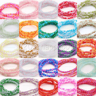 100PCS Colorful Gemstone Round Jade Beads 24 Colors Europ Jewelry Making 6mm