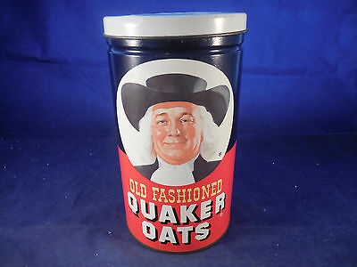 """1982 Quaker Oats Tin Container With Metal Lid 9 1/4"""" Tall Limited Edition"""