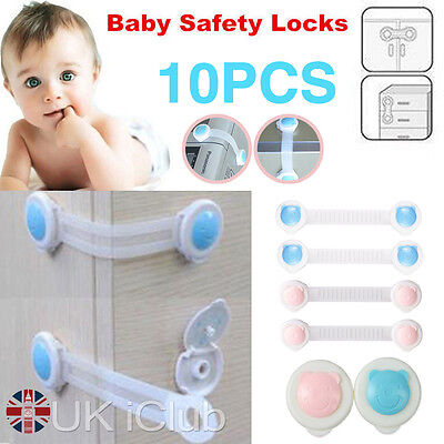 10x Kids Child Baby Pet Proof Door Cupboard Fridge Cabinet Drawer Safety Lock UK