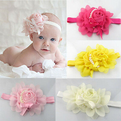 Lovely Cute Baby Girl Headband Chiffon Pearl Flower Satin Bow Headbands Hairband