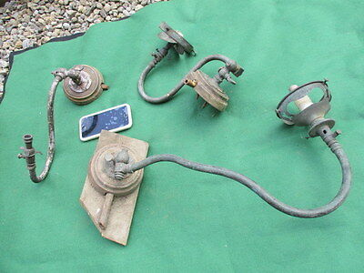 Antique Gas Wall Lights Brass with Wooden Plaque Spares / Repairs Sconce Vintage