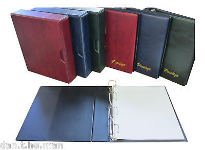 Prestige Loose Leaf Stamp Album + 50 Quadrille Pages - Blue Green Or Burgundy