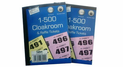 3x Books of Cloakroom and Raffle Ticket (1 - 500) Tombola Draw Numbered colors