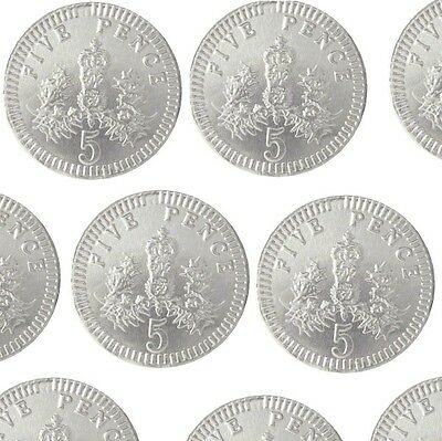 Milk Chocolate 5p Five Pence Silver Foiled Covered Money Coins Sweets Qty 10-200