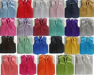 NEW Boys 3 button Satin Vest Adjustable Zipper Tie Combo WEDDING RINGBOY PAGEANT