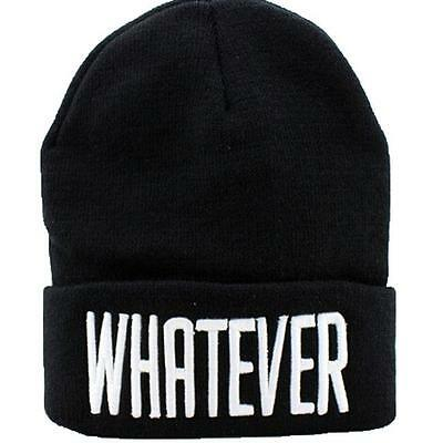Vogue Black Men Women Hip-hop Cap Hat Wool Knitted Hat With Letter WHATEVER - LD