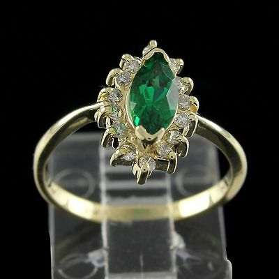 Estate 1.50 ct Marquise Cut Emerald With Diamond 10K Solid Yellow Gold Halo Ring