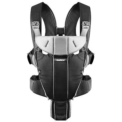 BabyBjorn Miracle Cotton Mix Front Wearing Newborn Baby Carrier - Black & Silver