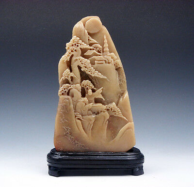 Vintage Shou-Shan Stone Hand Carved In Relief Pine Trees Figurines Temple Tower