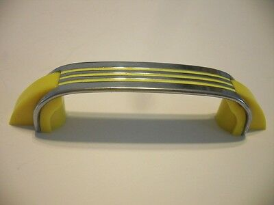 Vintage 50S Antique CHROME YELLOW DRAWER PULLS Plastic Ends Cabinet Door Handles
