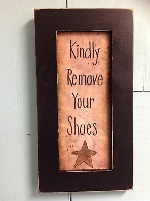 "Kindly remove shoes sign framed 7"" x 15"" foyer entry porch decor take off shoes"