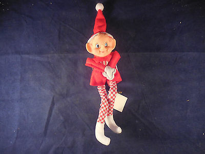 """8 1/2"""" reproduction pixie ornament new with tags red and white with check legs"""