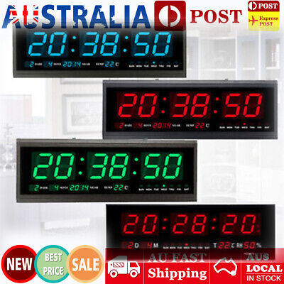 Hot Digital Large Big Jumbo LED Wall Desk Alarm Clock With Calendar Temperature