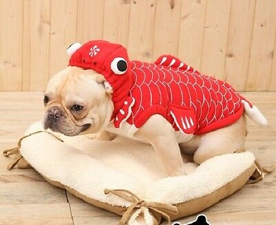 Red Koi Fish Pets Puppy Dog Coat Cats Clothes Apparel Costume Outfit Autumn