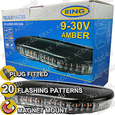 Ring 9 - 30v Magnetic Roof Mount Amber Flashing LED Safety Beacon Mini Light Bar