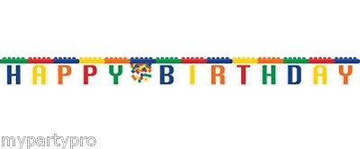 Lego inspired, Building Blocks Birthday Jointed Banner Birthday party supplies