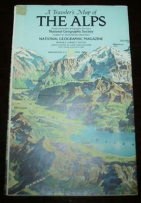 National Geographic Map - Traveler's Map of THE ALPS - June 1985 - 36 x 22 in