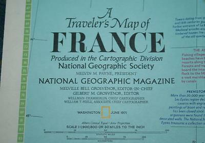 National Geographic Map - Traveler's Map of FRANCE - June 1971 - 32 x 22 in