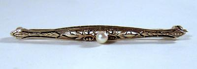 Antique Victorian Gold ov Sterling Silver Bar Pin w/ High Luster Cultured Pearl