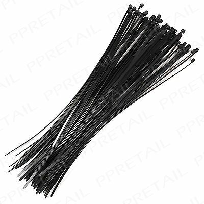 48x Black 300mm Cable Ties ~SECURE & ULTRA STRONG~ Zip Electrical Wire Wrap Tidy