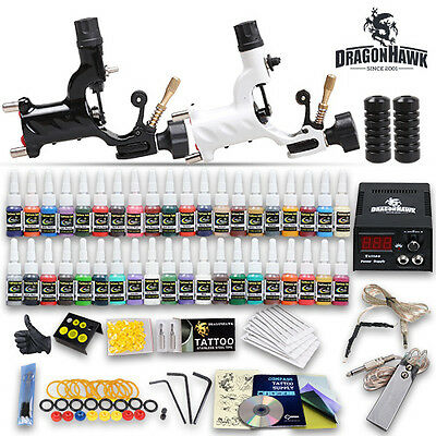 Professional Complete Tattoo Kit 2 Top Rotary Machine Gun 40 Color Inks