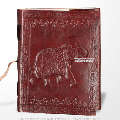 Medieval Genuine Leather Journal Diary Parchment Paper Notebook Elephant Theme
