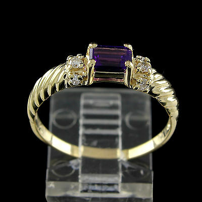 Estate 1Ct Emerald Cut Amethyst With Diamond 14K Solid Yellow Gold Ring