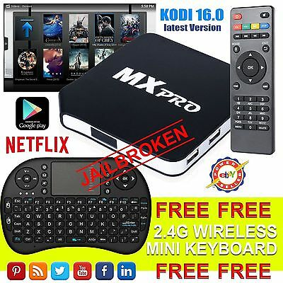 V-2016 MX Pro Android TV Box KODI Fully Loaded Quad Core Free Sports Film Movies
