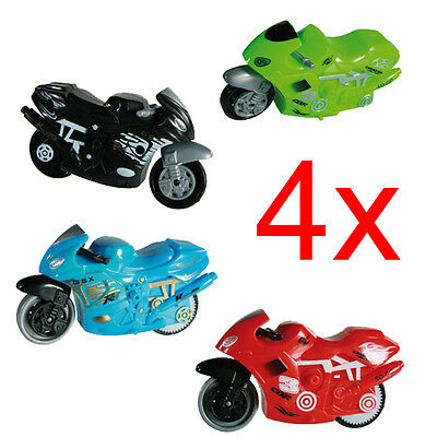 4 X Motorbike With Friction Pull Back Powered Fast Fun Kids Toy Gift Xmas New