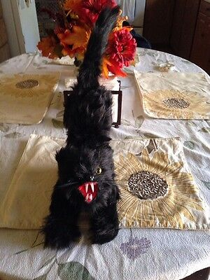 Nwt Scary Halloween Furry Black Demonic  Arched Cat