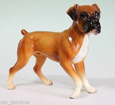 Red Fawn Boxer Standing Dog Pawing Ceramic Porcelain Figurine Japan Retired Rare