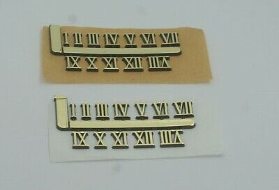 Stick on clock numbers roman numerals 10mm art craft dial sticking gold 1 set