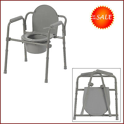Adjustable Bedside Commode Toilet Seat Riser Fold Chair Handicap Eldery Safety