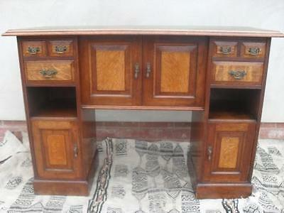 Unusual Victorian Oak & Mahogany Side Cabinet/Desk with tooled leather