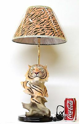 Tiger Striped Lamp Shade Home Decor Head Statue Table Lamp