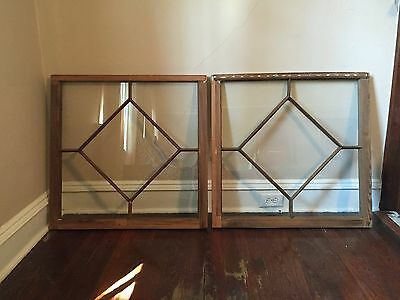 Fully Restored Handmade Unfinished Antique Pair of Pine Window Sashes c1900