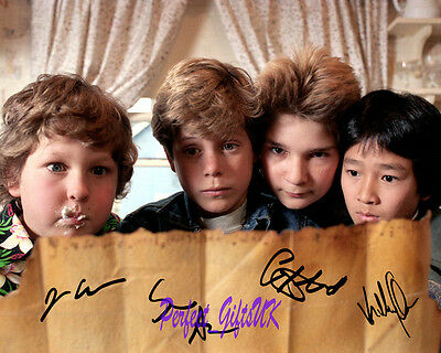 The Goonies Cast Astin Cohan Quan Corey SIGNED AUTOGRAPHED 10X8 PRE-PRINT PHOTO